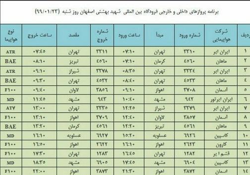 برنامه پرواز های 23 فروردین فرودگاه شهید بهشتی اصفهان