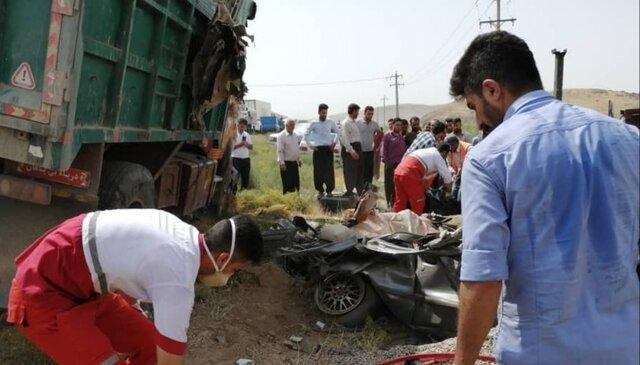 تصادف مرگبار اعضای یک خانواده در محور بوکان- میاندوآب